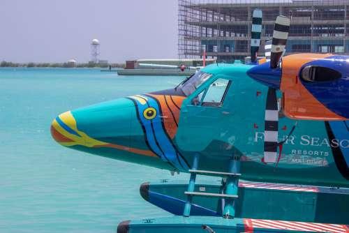 Harbour Air Seaplanes Docked in Maldives
