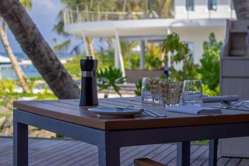 Breakfast Table Arrangement on a Tropical Beach