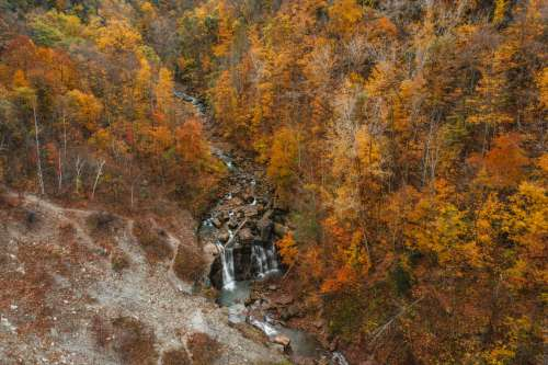 Overhead View Of Waterfall In Autumnal Forest Photo