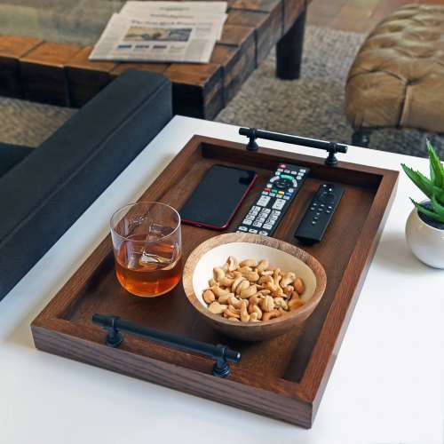 Wooden Tray On Side Table In Living Room Photo