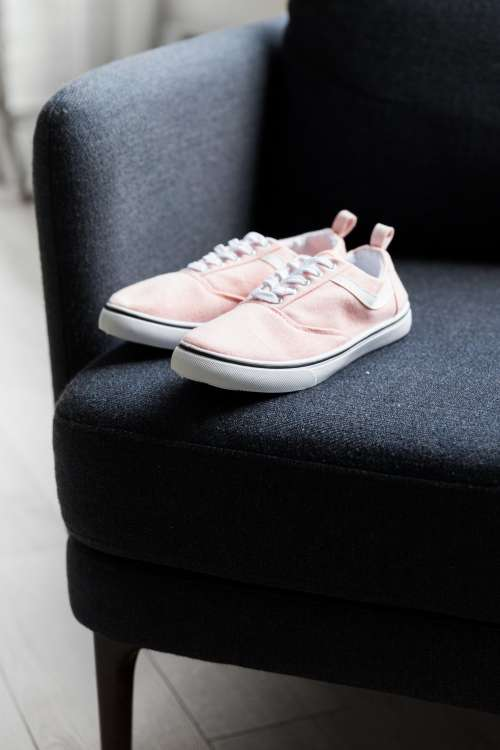 Pink Pumps On Black Chair Photo