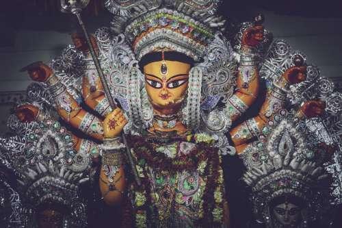 An Ornate Statue Of Indian War Goddess Durga Photo