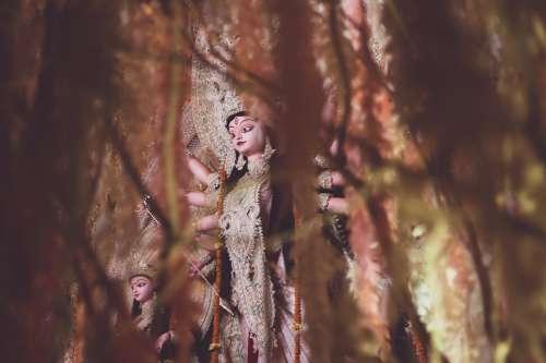 Indian War Goddess Durga Visible Through A Curtain Of Vines Photo