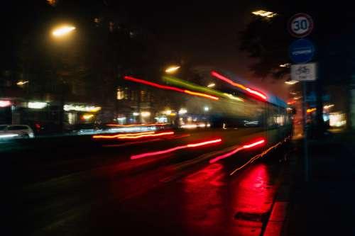 Bus Speeds In The Night Photo