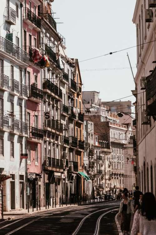 Colorful Buildings Line Compact Lisbon Street Photo