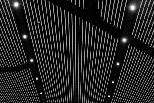 White Vertical Lines On A Black Ceiling Photo