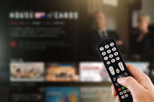 Television wall broadcasting concept. Multimedia video streaming web banner background