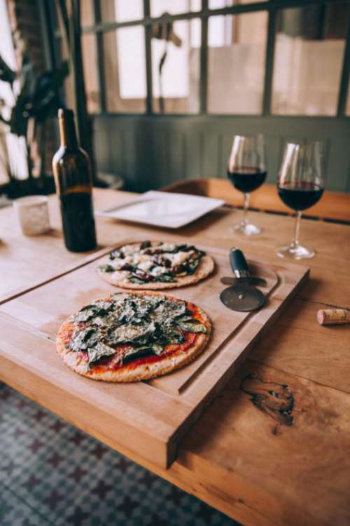Pizza Wine Dinner Free Photo