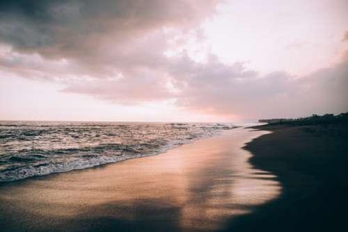 Beach Sunset Pink Free Photo
