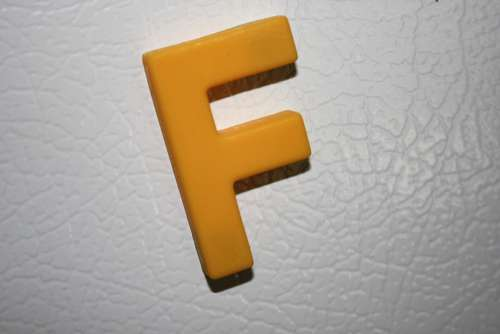 Letter F Yellow Refrigerator Magnet
