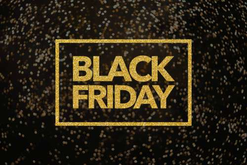 Black Friday Lettering Golden Glitter Free Photo