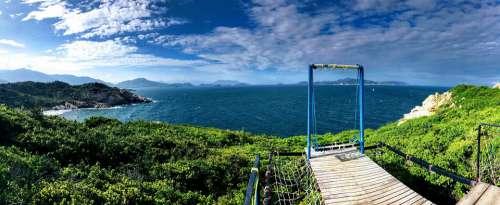 Setting Beauty The Sea Water Sky Green Mountain