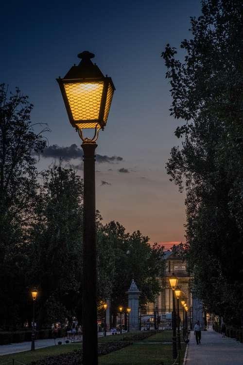 Sunset Street Lamp Light Warmth Backlight Sky