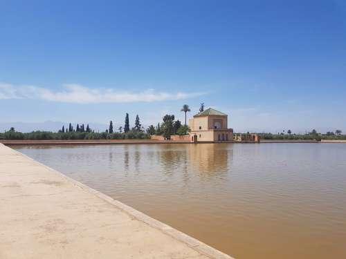 Morocco Marrakech Garden Menara Palace Pond