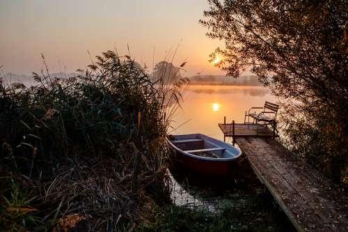 Morning Boat Pier Water Sunrise Channel Idyll