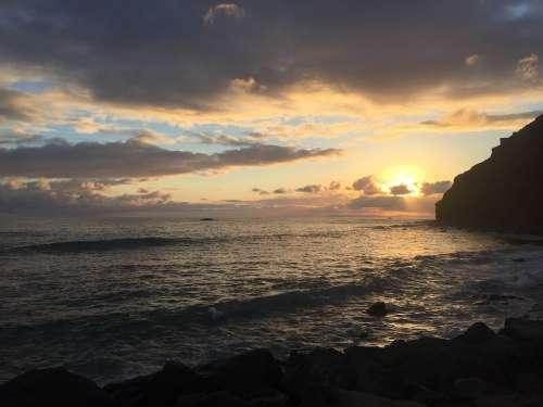 Evening Sunset Inspirational Clouds Horizon Water
