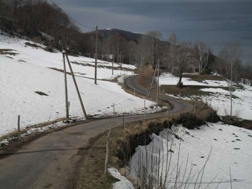 Road Snow Winter Cold Landscape Winding Nature