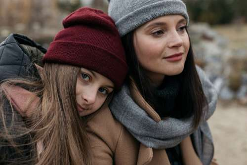 Family Mom Daughter Baby Teen Autumn Street City
