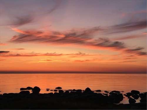 Sunset Clouds Sea Beach Sky Horizon
