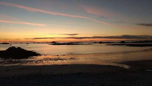 Cobo Bay Sunset Guernsey Sea Rocks Beach
