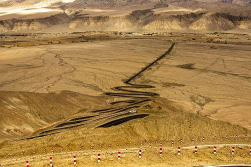 In Xinjiang Scenery Road Travel