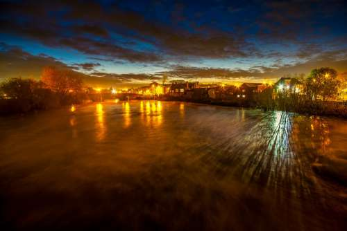 River Aire Castleford Flood Blue Hour