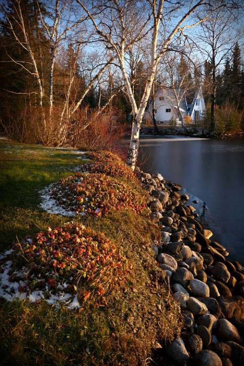 Landscape Nature House Water Stones Ice Scenic