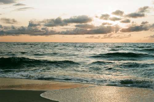 Sea Clouds Sunset Wave Sand Travel Nature
