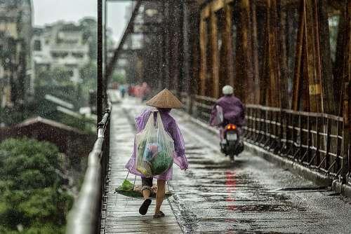 Season Bridge Wet People Street Woman Asia