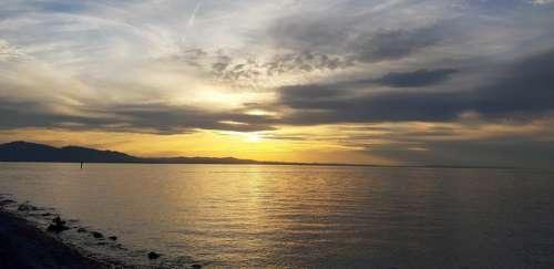 Lake Constance Sunset Sun Clouds Lake Water