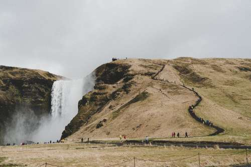 Iceland Waterfall Tourism Landscape Nature Water