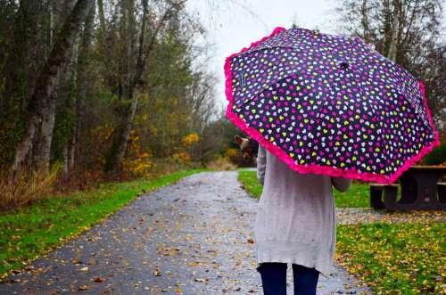 Woman Umbrella Rain Girl People Female Young