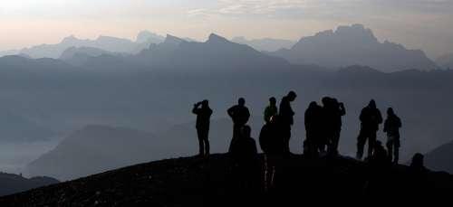 Alpine Sunrise Mountains Landscape Nature Sky