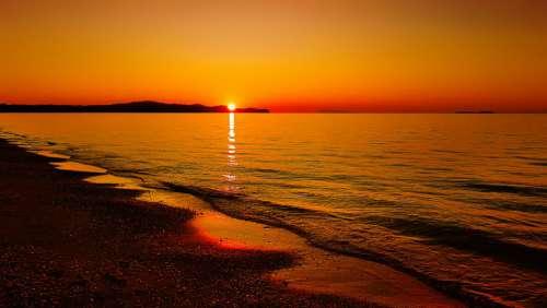 Sunset Sea Abendstimmung Dusk Sky Water Beach