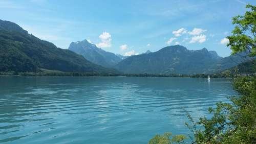Switzerland Lake Mountains Landscape Nature Alpine