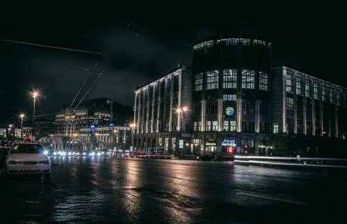 City Night Architecture Lights Urban Skyline