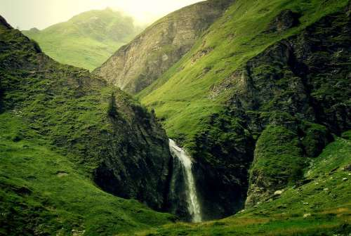 Mountains Alpine Waterfall Green Light Sun