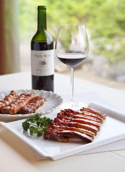 Wine Food Delicious Eat Pork Ribs Sweet