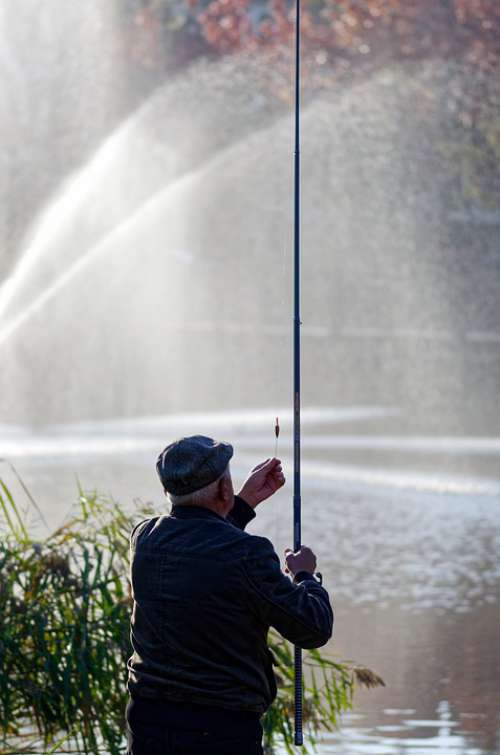 Fisherman Rod Fishing Water Fountain Hobby
