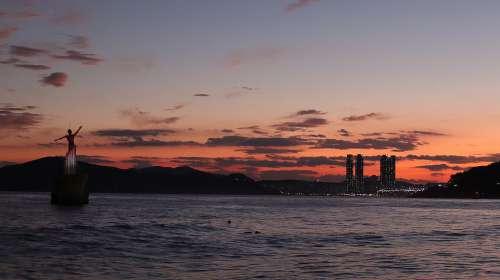 Sunset Sea Ocean Water Beach Sky Clouds Evening