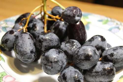 Grapes Purple Wine Fruit Healthy Nature Sweet