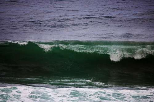 Deep Green Colour Of Cresting Wave