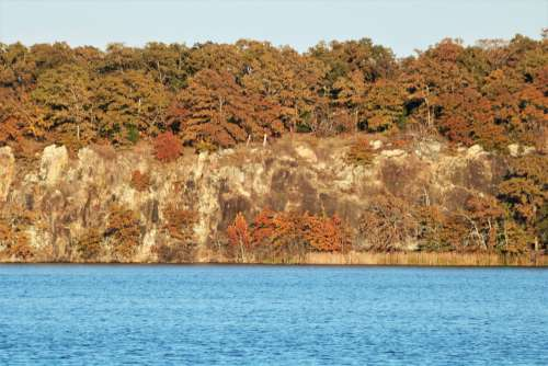 Lakeside Cliff In Fall