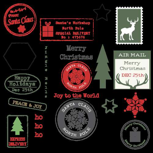 Christmas Rubber Stamps Set