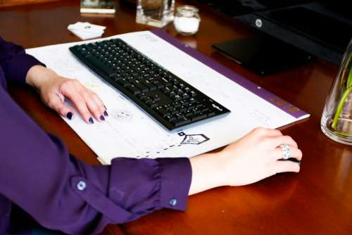 typing woman working developer designer