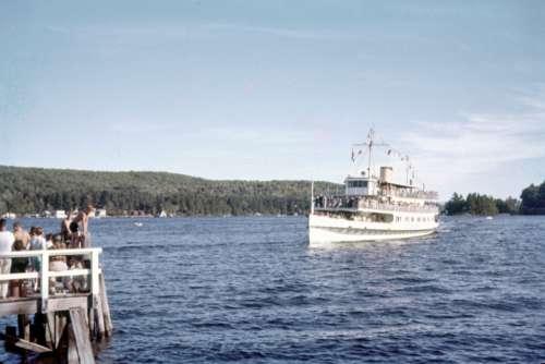 cruise ship vintage retro lake