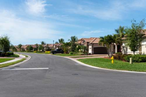 suburban street houses road neighborhood