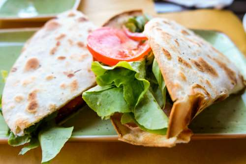 Piadina Sandwich Breakfast with Salad and Tomatoes