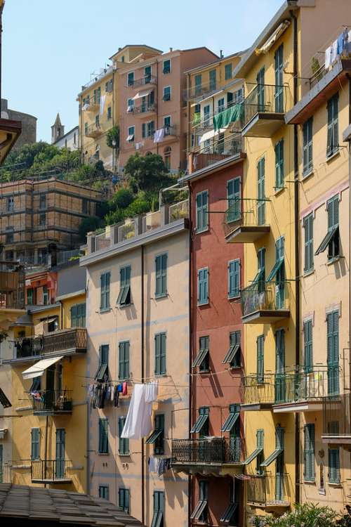 Tall Colorful Buildings in Riomaggiore, Italy