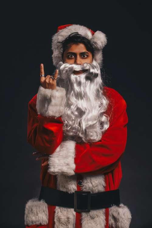 Santa Using Hand Sign Photo
